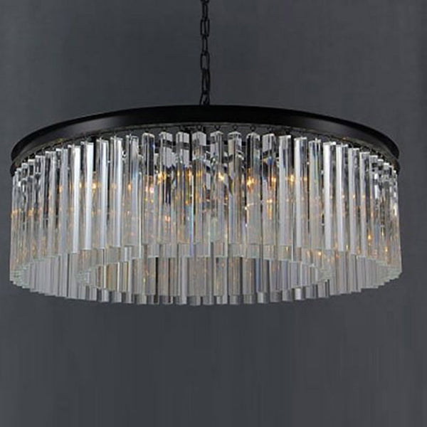 Etienne Clear Glass Prism Crystal Round Chandelier