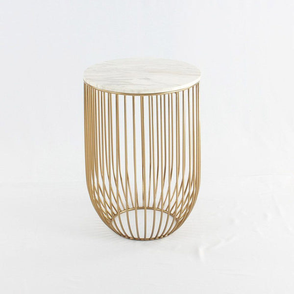 Mie Side Table - Carrara Marble Top & Gold Base