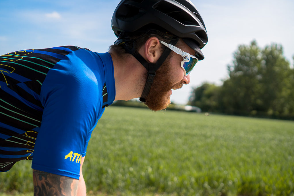 Endurance cyclist Chris Hall talks Silk Road Mountain Race 2018 wearing Sweet Spot Rave On cycling Jersey and black bib shorts