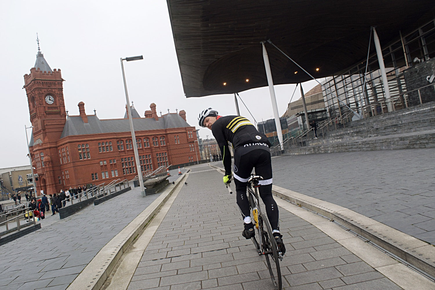 Dirty Sanchez star Matt Pritchard rides with Attacus Cycling at Cardiff Bay, South Wales