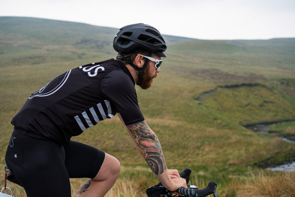 Endurance cyclist Chris Hall talks Silk Road Mountain Race 2018 wearing Dark Dagger cycling gilet and black bib shorts