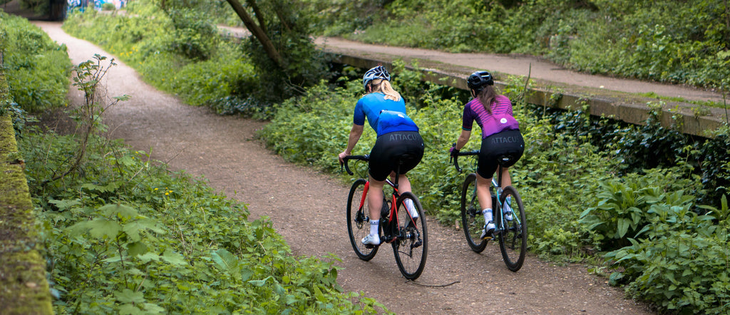 f89e92d15 ... Emily Childs and Laura Scott wear the Attacus Cycling Sweet Spot Jersey  and Bib Shorts