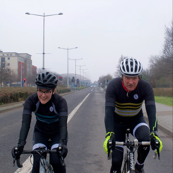 Dirty Sanchez star Matt Pritchard rides with Attacus Cycling co-founder Emily in Cardiff, South Wales