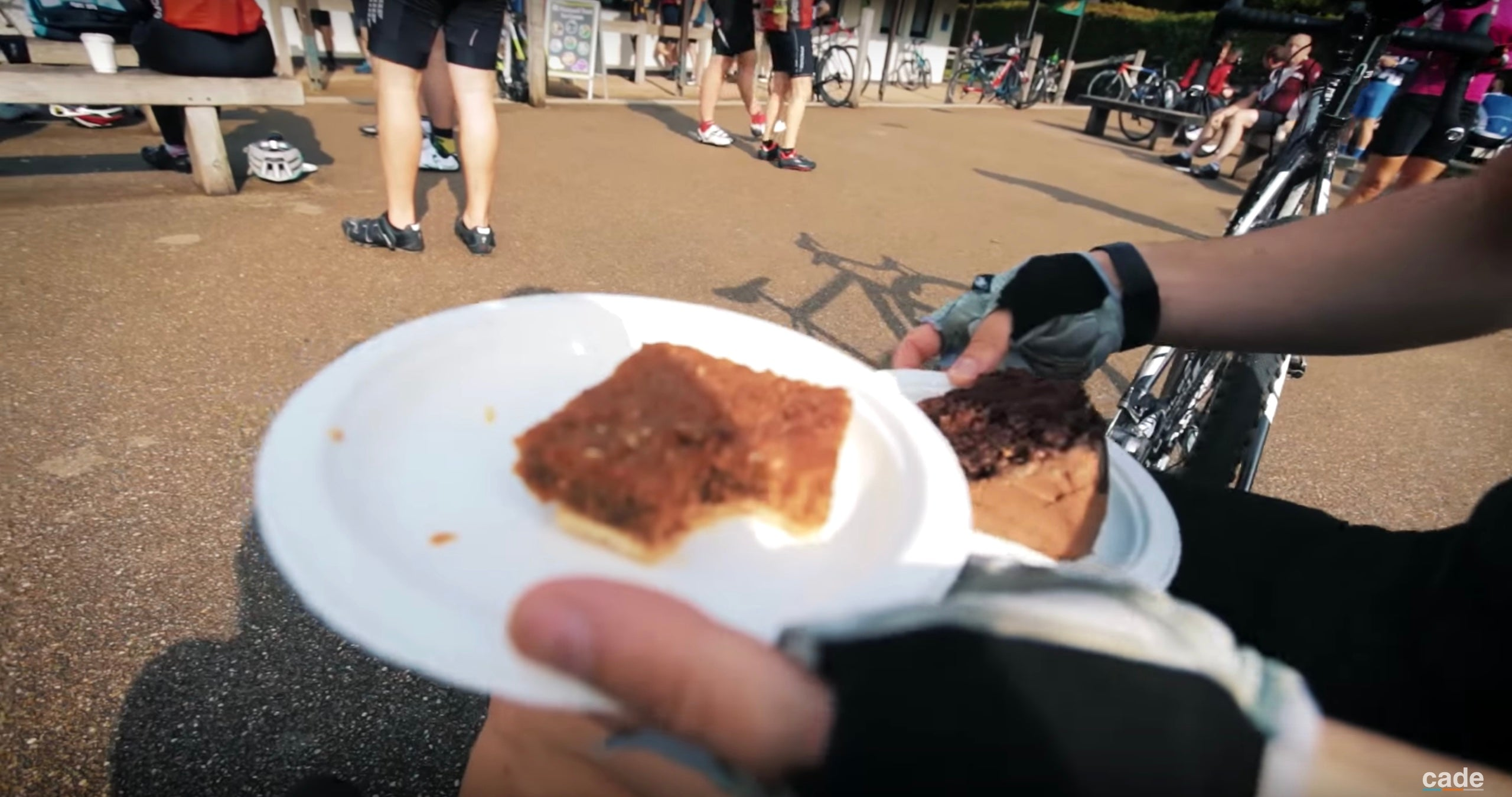 Cyclists enjoy coffee and cake at the top of Box Hill