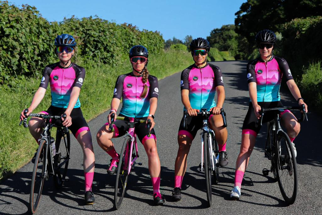 L-R: Jess, Louise, Jules and Rhian, who are this year aiming to break a Guinness World Record for the fastest four-cyclist relay from Land's End to John O'Groats