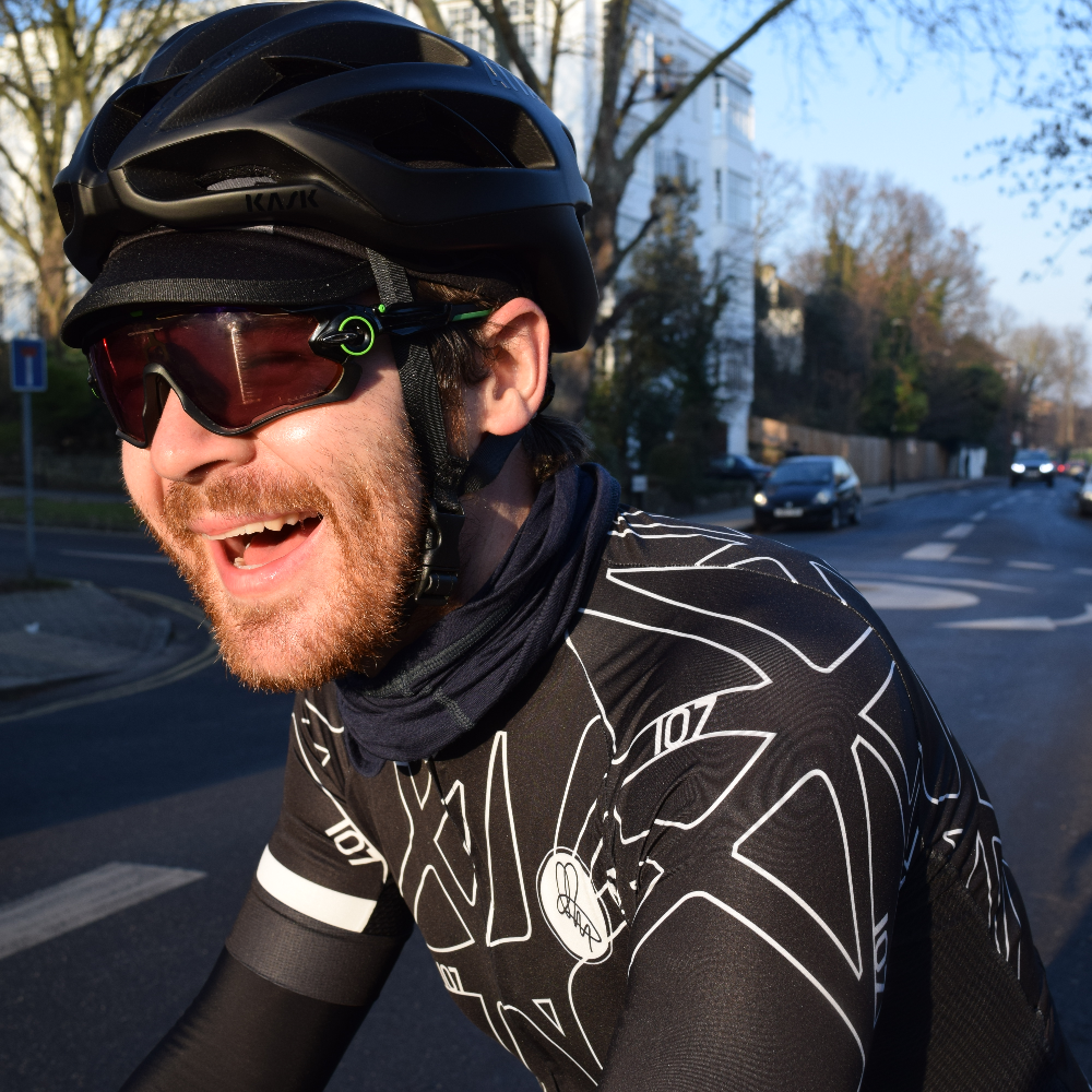 Chris Hall rides 107 for 107 in Attacus Cycling jersey