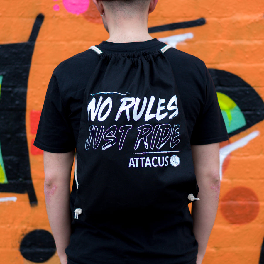 No Rules Just Ride Drawstring Bag