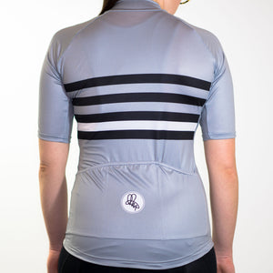 Women's black grey and white stripe summer short sleeve cycling jersey slim fit