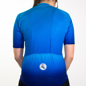 Women's blue fade summer short sleeve cycling jersey slim fit