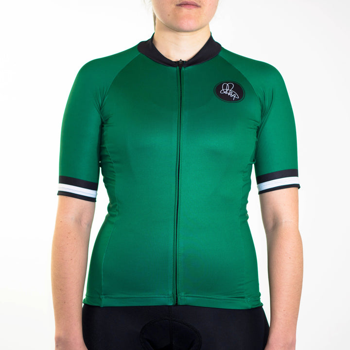 Women's green mod-inspired short sleeve summer jersey slim fit