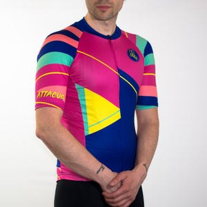 Men's pink yellow blue and green loud summer short sleeve cycling jersey slim fit