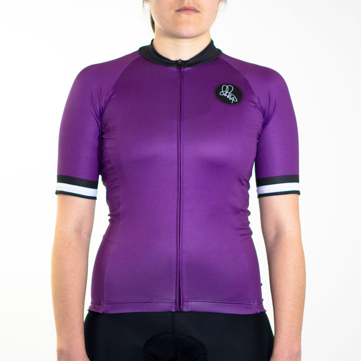 Women's purple mod-inspired summer short sleeve cycling jersey slim fit