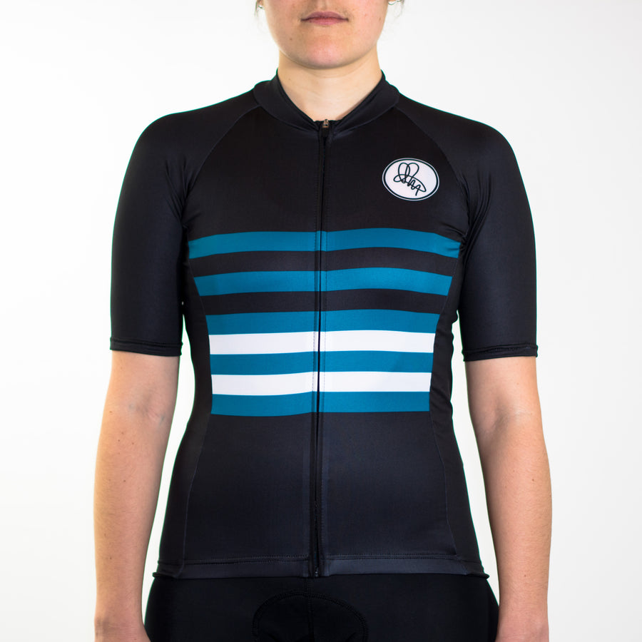 Women's black and teal stripe summer short sleeve cycling jersey slim fit