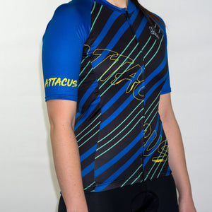 Women's summer short sleeve blue pattern cycling jersey 90s geometric slim fit
