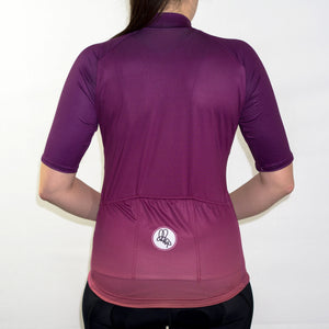 Women's magenta pink fade summer short sleeve cycling jersey slim fit