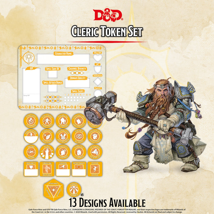 D&D RPG: Cleric Token Set ( Player Board & 22 Tokens)-Gale Force Nine-Athena Games Ltd