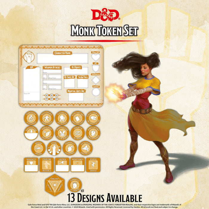 D&D RPG: Monk Token Set ( Player Board & 23 Tokens)-Gale Force Nine-Athena Games Ltd