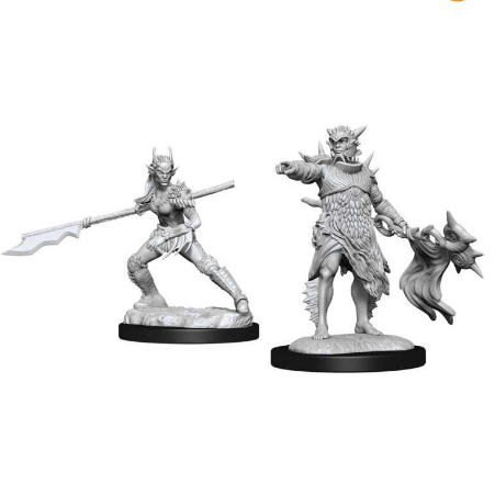 Magic the Gathering Unpainted Miniatures: Coralhelm Commander & Halimar Wavewatch (Merfolk)-Wizkids-Athena Games Ltd