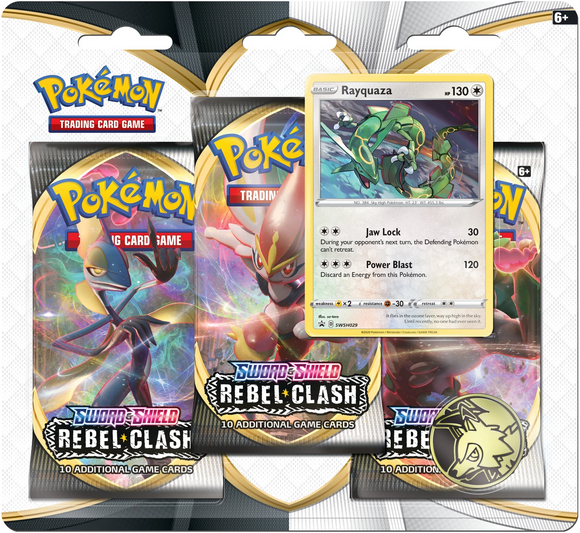 Pokemon Sword & Shield Rebel Clash 3-Pack Blister