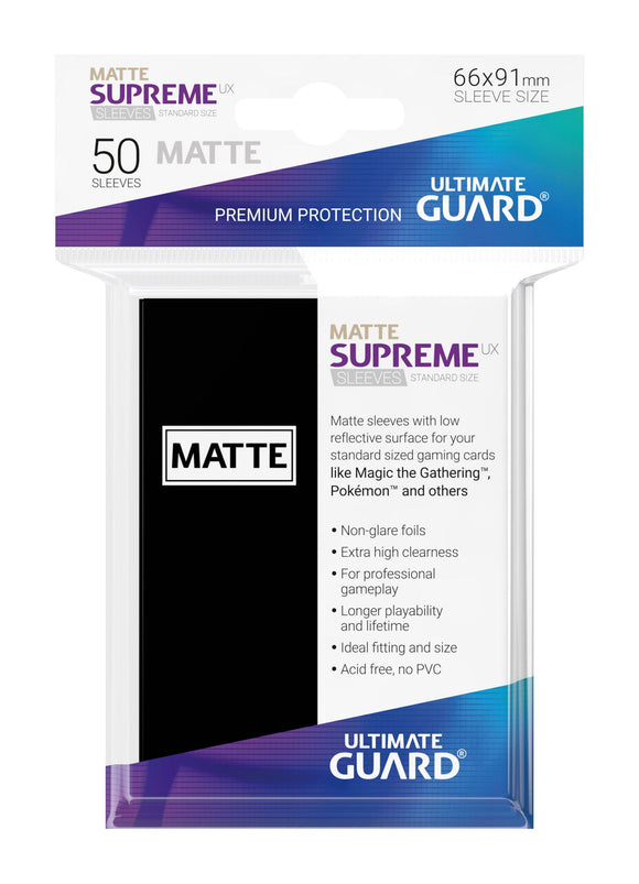 Ultimate Guard Supreme UX Sleeves Standard Size Matte Black (50)