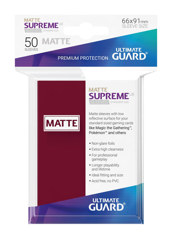 Ultimate Guard Supreme UX Sleeves Standard Size Matte Burgundy (50)