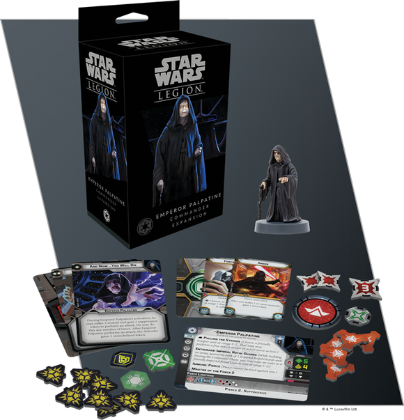 Star Wars Legion Emperor Palpatine Commander Expansion Contents Assembled and Painted