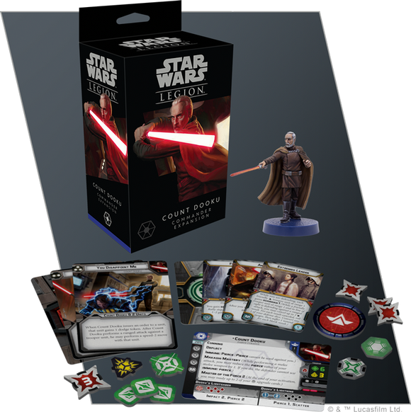 Star Wars Legion Count Dooku Commander Expansion Contents Assembled and Painted