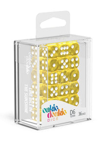 Oakie Doakie Dice D6 Dice 12 mm Marble - Yellow (36) Front View