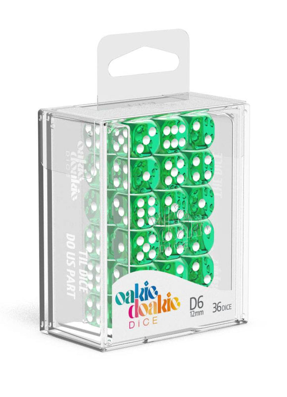 Oakie Doakie Dice D6 Dice 12 mm Translucent - Green (36) Box Front
