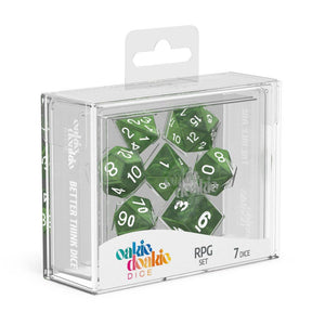 Oakie Doakie Dice RPG Set Marble - Green (7) Front View