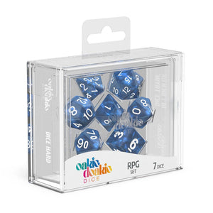 Oakie Doakie Dice RPG Set Marble - Blue (7) Front View