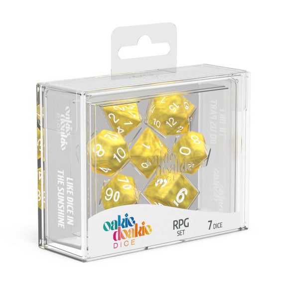 Oakie Doakie Dice RPG Set Marble - Yellow (7) Front View