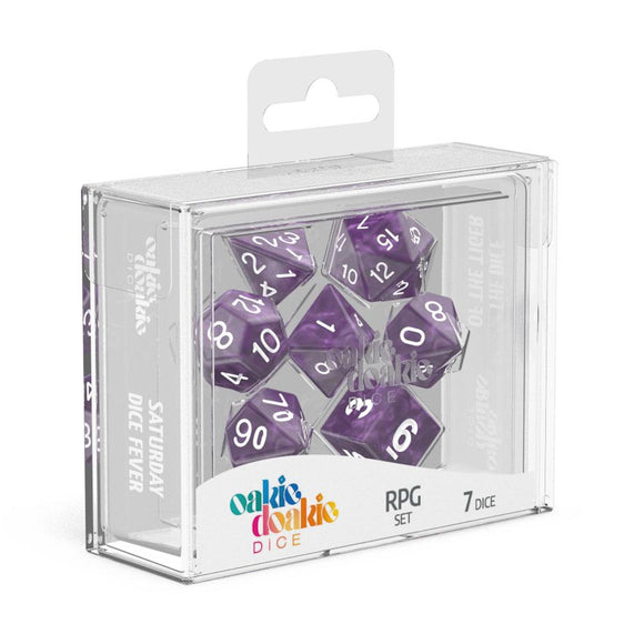 Oakie Doakie Dice RPG Set Marble - Purple (7) Front View