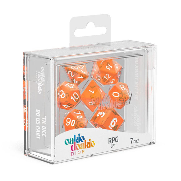 Oakie Doakie Dice RPG Set Translucent - Orange (7) Box Front