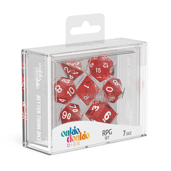 Oakie Doakie Dice RPG Set Speckled - Red (7) Front View