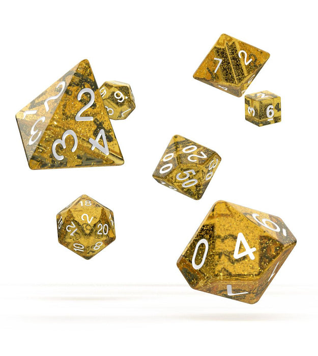 Oakie Doakie Dice RPG Set Speckled - Orange (7) Dice Thrown