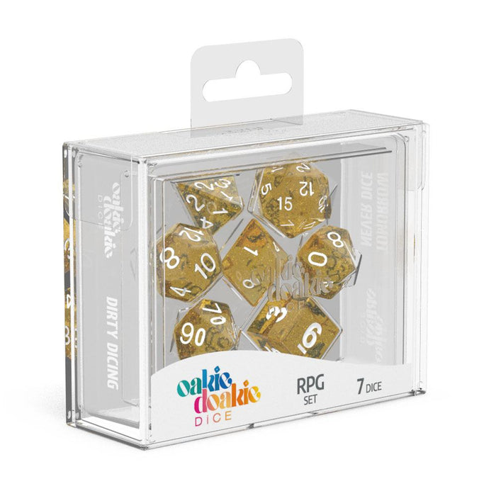 Oakie Doakie Dice RPG Set Speckled - Orange (7) Front View