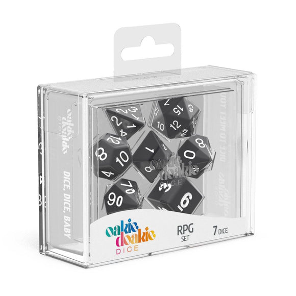 Oakie Doakie Dice RPG Set Solid - Black (7) Front View