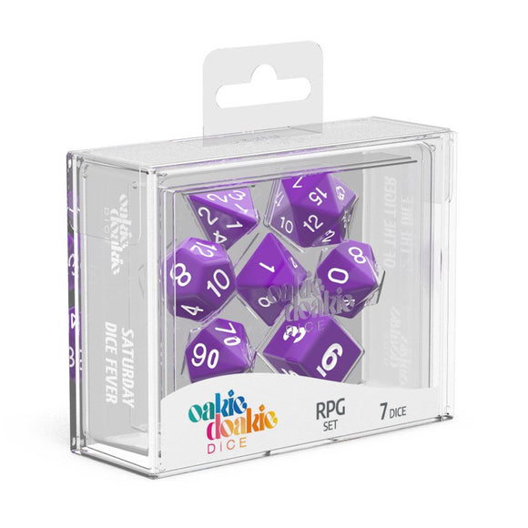 Oakie Doakie Dice RPG Set Solid - Purple (7) Front View