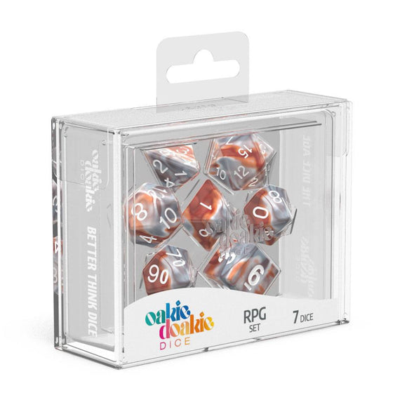 Oakie Doakie Dice RPG Set Gemidice Silver-Rust - Front of Packaging