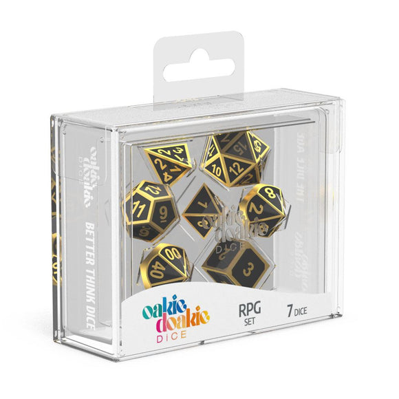 Oakie Doakie Dice RPG Set Metal Dice - Alchemy Gold (7) Front View