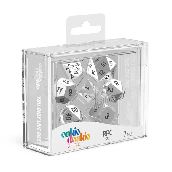 Oakie Doakie Dice RPG Set Metal Dice - Mercury (7) Front View