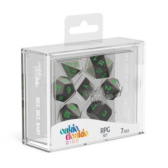 Oakie Doakie Dice RPG Set Metal Dice - Matrix (7) Front View
