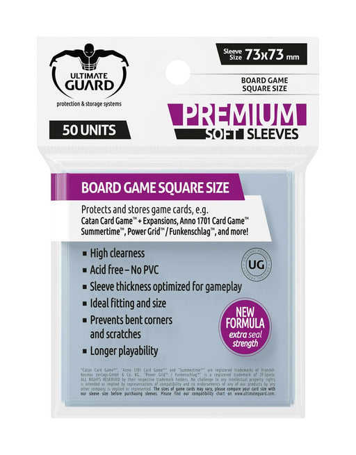 Ultimate Guard Premium Board Game Soft Sleeves Square (50)-Ultimate Guard-Athena Games Ltd