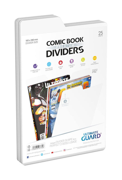 Ultimate Guard Premium Comic Book Dividers White (25)-Ultimate Guard-Athena Games Ltd