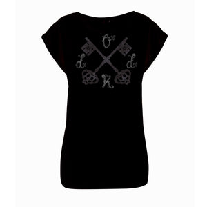 Ladies Large Crossed Keys Rolled Sleeve Tee