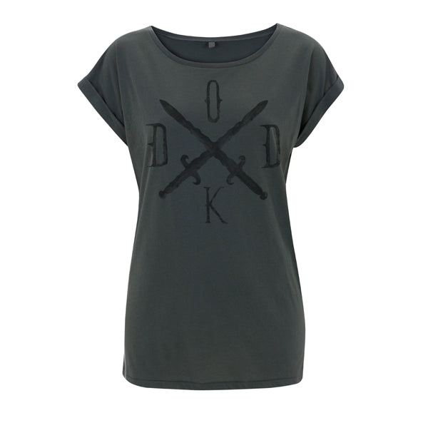 Ladies Sword Large Front Print Rolled Sleeve Tee