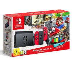 Nintendo Switch Console - Red + Super Mario Odyssey - Limited Edition - Grizzi
