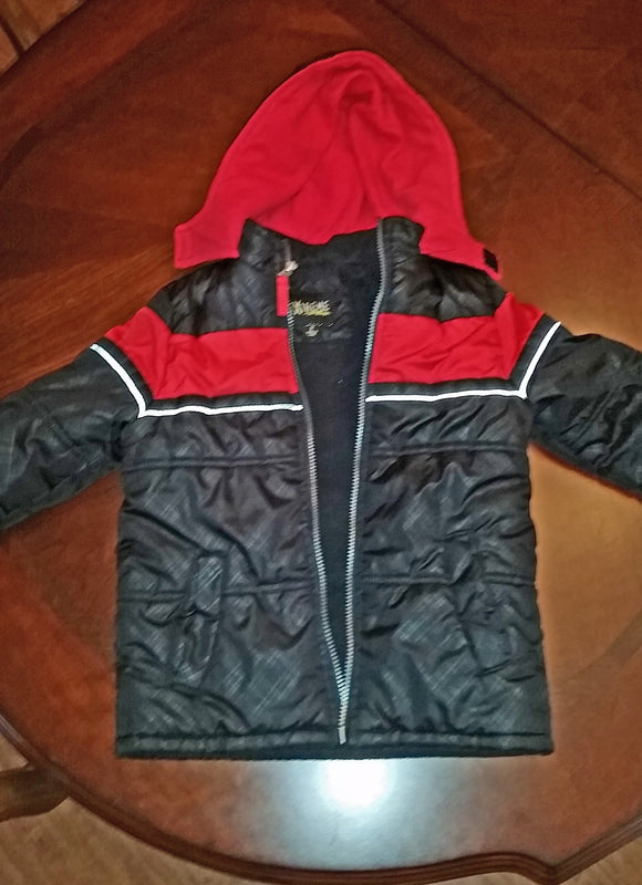 iXtreme Black/Red Puffy Coat w/ Hood & Fleece Lining Size 5