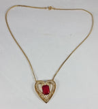 "Vintage Heart Necklace 18"" Goldtone with Red & Clear Crystal"